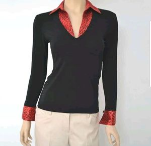 Black & Red Animal Print Long Sleeve Pull-Over Top